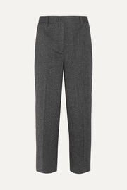 Cropped wool-blend mouline straight-leg pants