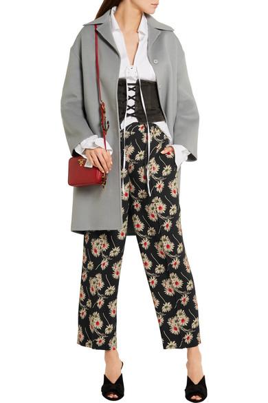 Cropped Floral-print Crepe Wide-leg Pants - Black Prada fs8UeUC5