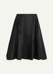 Beaded duchesse-satin skirt