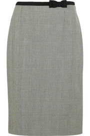 Grosgrain-trimmed plaid wool skirt