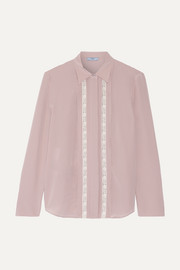 Lace-trimmed silk crepe de chine shirt