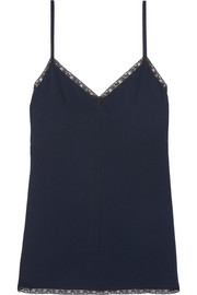 Lace-trimmed crepe camisole