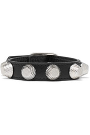 Giant textured-leather and silver-tone bracelet