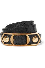 Balenciaga Metallic Edge textured-leather and gold-tone bracelet