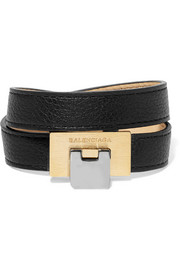 Le Dix textured-leather, silver and gold-tone bracelet