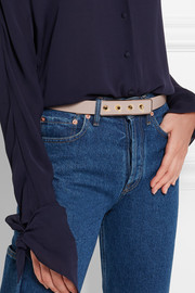 Studded textured-leather belt