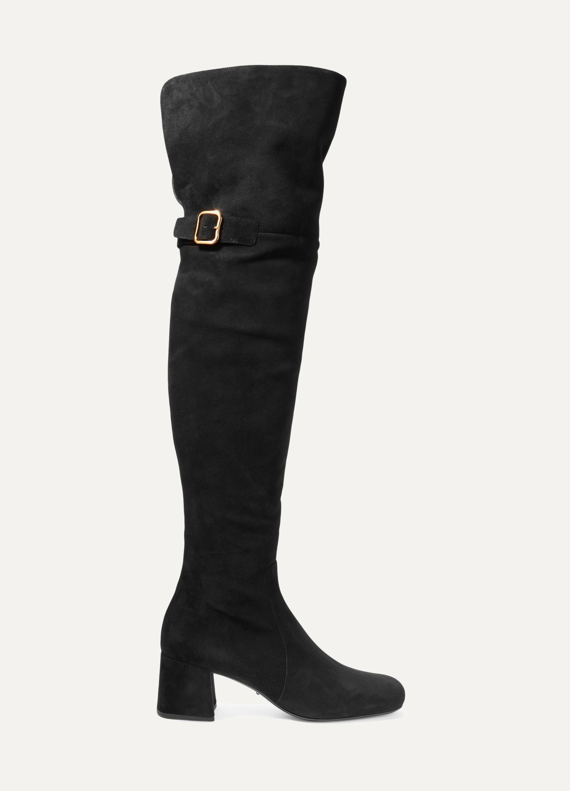 Black Suede over-the-knee boots   Prada