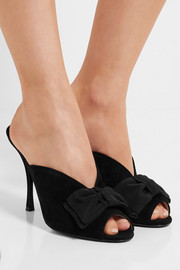 Grosgrain bow-embellished suede mules