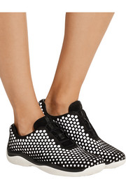 Perforated suede and neoprene sneakers