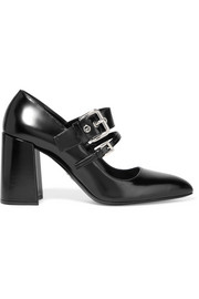 Prada Buckled glossed-leather pumps