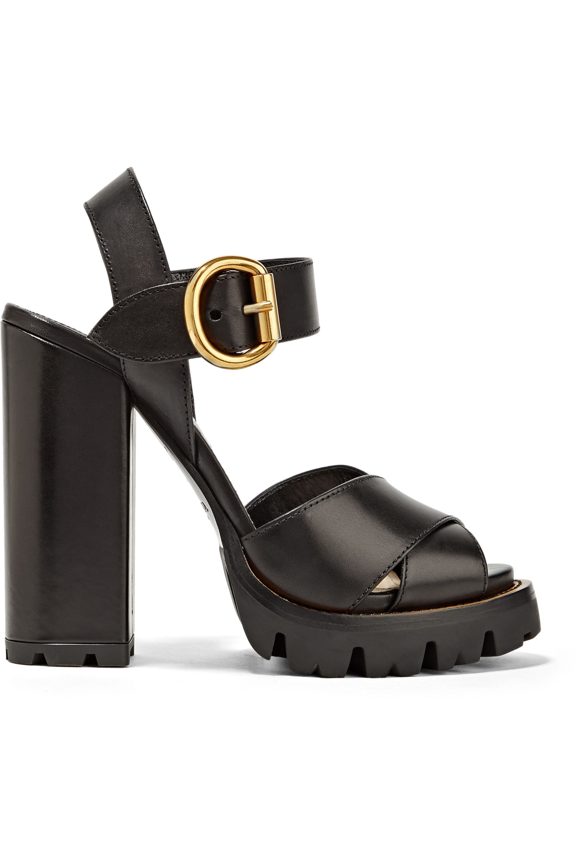 Black Leather platform sandals   Prada