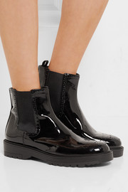 Prada Patent-leather Chelsea boots