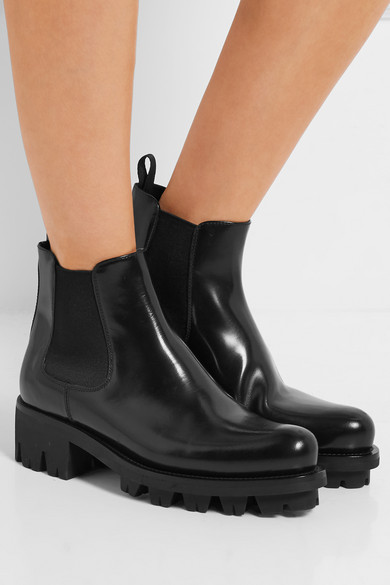 Prada Leather Chelsea Boots Net A Porter Com