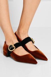 Prada Two-tone velvet point-toe flats