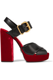 Leather and velvet platform sandals