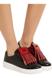Studded two-tone leather sneakers