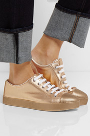 Prada Metallic textured-leather sneakers
