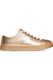 Metallic textured-leather sneakers