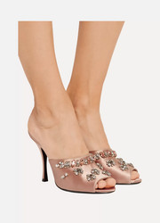 Prada Crystal-embellished satin sandals