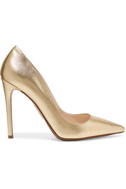 Prada Metallic textured-leather pumps
