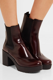 Glossed-leather platform Chelsea boots