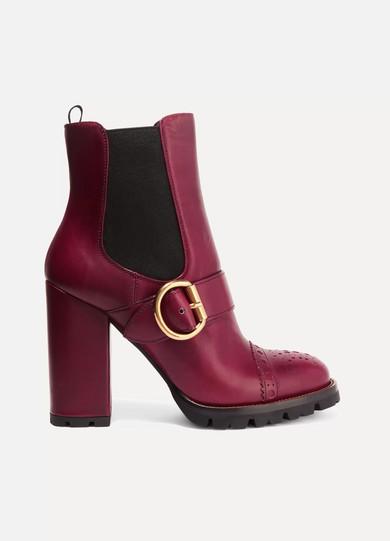 Prada - Leather Platform Boots - Burgundy