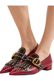 Studded two-tone leather point-toe flats