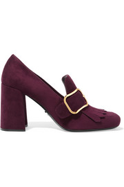 Buckled fringed suede pumps