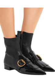 Prada Buckled fringed leather ankle boots