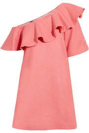 Chi Chi ruffled one-shoulder wool-blend felt mini dress