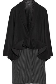 Plot ruffled wool-blend and pinstriped twill coat