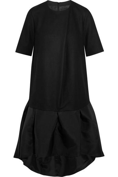 Paper London. Mani ruffled satin and wool-blend mini dress