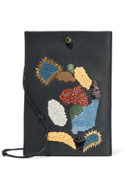Medicine embellished textured-leather shoulder bag
