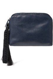 The Row Wristlet tasseled leather clutch