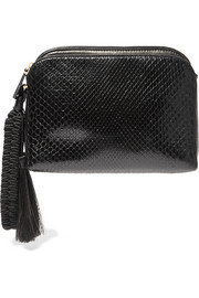 The Row Wristlet tasseled python clutch