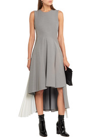 Asymmetric chiffon-paneled stretch-crepe dress