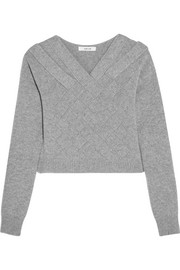 Cropped basketweave cashmere sweater