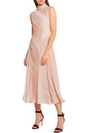 Velvet-paneled plissé-chiffon dress