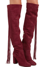 Tasseled suede over-the-knee boots
