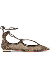 Christy leather-trimmed embroidered mesh point-toe flats