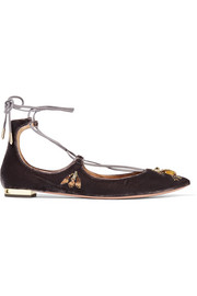 Christy Fauna embellished velvet point-toe flats