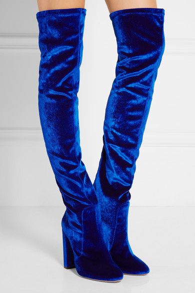 Aquazzura   Thigh High velvet over-the-knee boots   NET-A-PORTER.COM