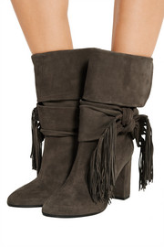 Bow-embellished fringed suede boots