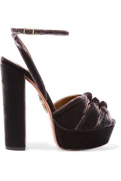 Aquazzura. Mira Plateau velvet platform sandals