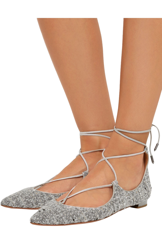 Aquazzura Christy leather-trimmed metallic bouclé point-toe flats