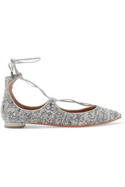 Christy leather-trimmed metallic bouclé point-toe flats
