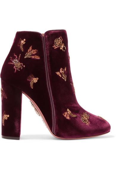 Aquazzura - Fauna Leather-trimmed Embellished Velvet Boots - Claret