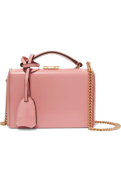 Mark Cross - Grace Mini Glossed-leather Shoulder Bag - Antique rose