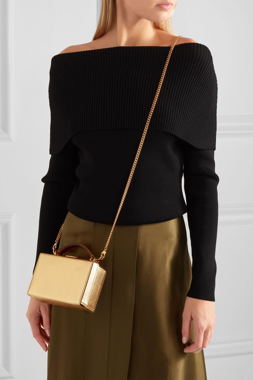 Mark Cross Grace mini metallic textured-leather shoulder bag