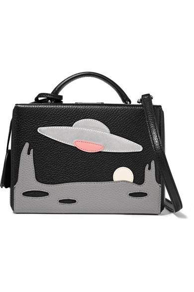 Mark Cross - Grace Small Appliquéd Textured-leather Shoulder Bag - Black